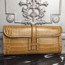 Hermes Jige Elan 29 Clutch In Camarel Crocodile Leather