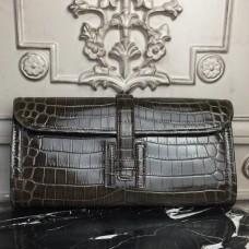 Hermes Jige Elan 29 Clutch In Chocolate Crocodile Leather