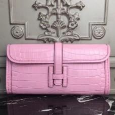 Hermes Jige Elan 29 Clutch In Pink Crocodile Leather