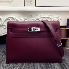 Hermes Kelly Danse Bag In Bordeaux Swift Leather