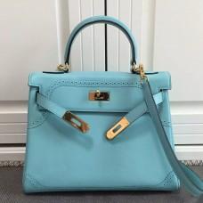Hermes Kelly Ghillies 28cm In Light Blue Swift Leather