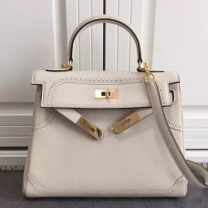 Hermes Kelly Ghillies 28cm In Ivory Swift Leather