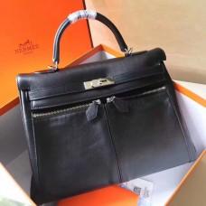 Hermes Black Kelly Lakis 35cm Handmade Bag