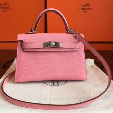 Hermes Rose Confetti Epsom Kelly Mini II 20cm Handmade Bag