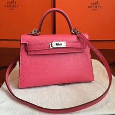 Hermes Rose Lipstick Chevre Kelly Mini II 20cm Handmade Bag