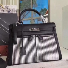 Hermes Black Kelly Lakis 32cm Toile and Swift Bag