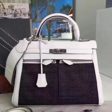 Hermes White Kelly Lakis 32cm Toile and Swift Bag