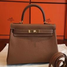 Hermes Gold Clemence Kelly Retourne 28cm Handmade Bag
