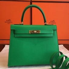Hermes Bamboo Epsom Kelly Sellier 28cm Handmade Bag