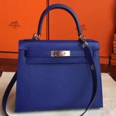 Hermes Blue Electric Epsom Kelly Sellier 28cm Handmade Bag