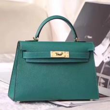Hermes Malachite Epsom Kelly Mini II 20cm Handmade Bag