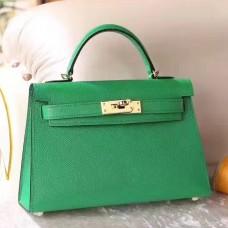 Hermes Bamboo Epsom Kelly Mini II 20cm Handmade Bag