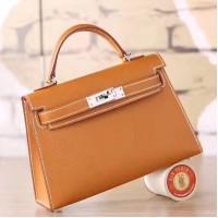 Hermes Brown Epsom Kelly Mini II 20cm Handmade Bag