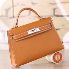 Hermes Brown Epsom Kelly Mini II 20cm Handmade Bag