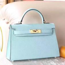 Hermes Blue Zephyr Epsom Kelly Mini II 20cm Handmade Bag