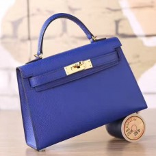 Hermes Electric Blue Epsom Kelly Mini II 20cm Handmade Bag
