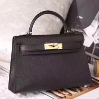 Hermes Black Epsom Kelly Mini II 20cm Handmade Bag