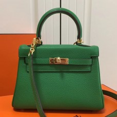 Hermes Bamboo Clemence Kelly 20cm GHW Bag