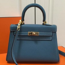 Hermes Blue Jean Clemence Kelly 20cm GHW Bag