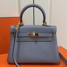 Hermes Blue Lin Clemence Kelly 20cm GHW Bag