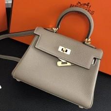 Hermes Grey Clemence Kelly 20cm GHW Bag