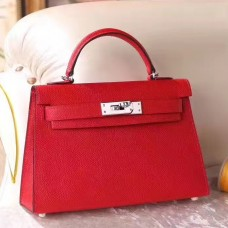 Hermes Red Epsom Kelly Mini II 20cm Handmade Bag