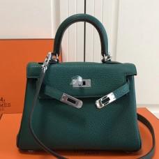 Hermes Malachite Clemence Kelly 20cm PHW Bag