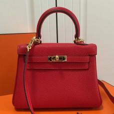 Hermes Red Clemence Kelly 20cm GHW Bag