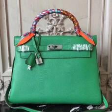 Hermes Bamboo Clemence Kelly 28cm Bag