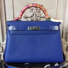 Hermes Blue Electric Clemence Kelly 28cm Bag