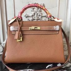 Hermes Brown Clemence Kelly 28cm Bag