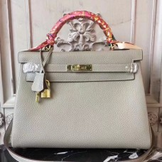 Hermes Light Grey Clemence Kelly 28cm Bag