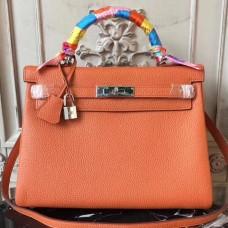 Hermes Orange Clemence Kelly 28cm Bag