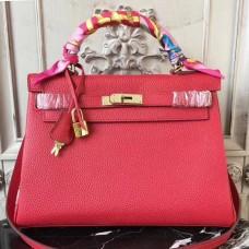 Hermes Red Clemence Kelly 28cm Bag