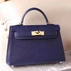 Hermes Sapphire Epsom Kelly Mini II 20cm Handmade Bag