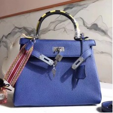 Hermes Blue Kelly 28cm Bag With Zigzag Handle