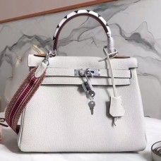Hermes White Kelly 28cm Bag With Zigzag Handle
