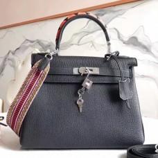 Hermes Black Kelly 28cm Bag With Zigzag Handle