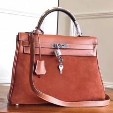Hermes Brown Suede Kelly 32cm Bag With Zigzag Handle