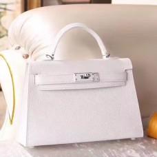 Hermes White Epsom Kelly Mini II 20cm Handmade Bag