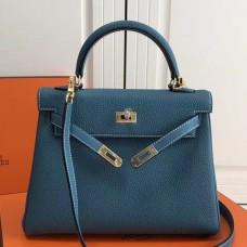 Hermes Blue Jean Clemence Kelly 25cm GHW Bag