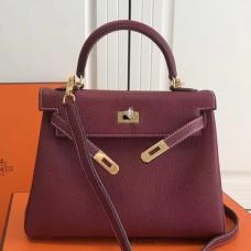 Hermes Bordeaux Clemence Kelly 25cm GHW Bag