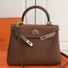 Hermes Brown Clemence Kelly 25cm GHW Bag