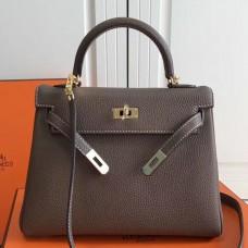 Hermes Etoupe Clemence Kelly 25cm GHW Bag