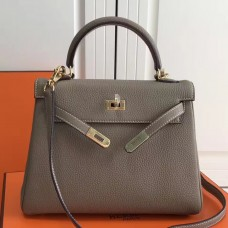 Hermes Grey Clemence Kelly 25cm GHW Bag