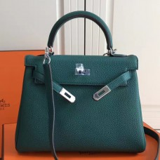 Hermes Malachite Clemence Kelly 25cm PHW Bag