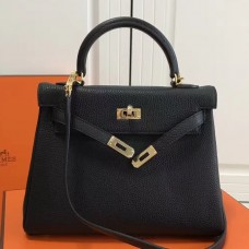 Hermes Black Clemence Kelly 25cm GHW Bag