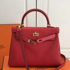 Hermes Red Clemence Kelly 25cm GHW Bag