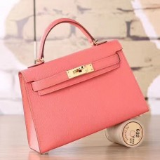 Hermes Flamingo Epsom Kelly Mini II 20cm Handmade Bag