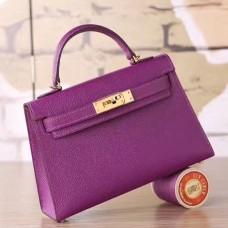 Hermes Cyclamen Epsom Kelly Mini II 20cm Handmade Bag